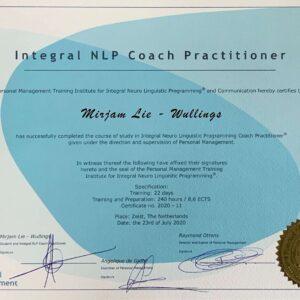 Mirjam Lie certificaat NLP coach