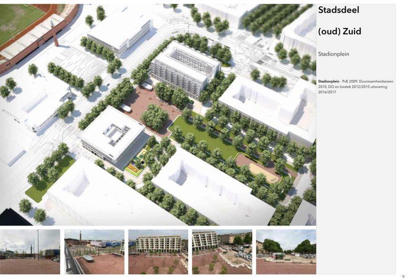 Stadionpplein Amsterdam ontwerp en uitvoering